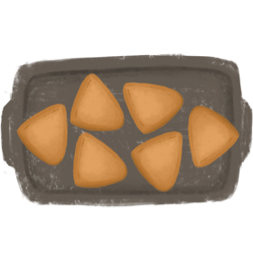Spread samosa on baking pan and bake for 15 to 18 minutes or until golden brown.